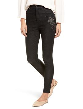 Embroidered Crop Denim Leggings by Nordstrom