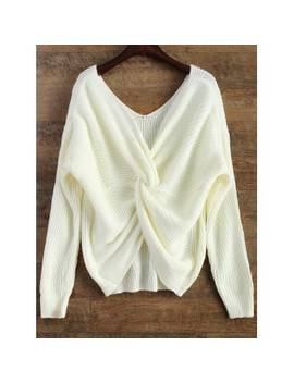 "<P>V Neck Twisted Back Sweater</P><I Class=""Icon Down Js Tap Up Down""></I> by Dress Lily"