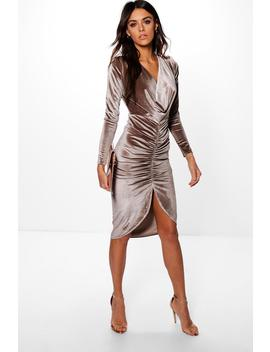 Cowl Neck Velvet Draped Midi Dress by Boohoo