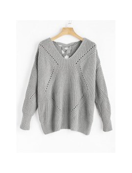 "<P>V Neck Criss Cross Sheer Sweater</P><I Class=""Icon Down Js Tap Up Down""></I> by Dress Lily"