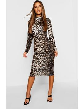 petite-high-neck-long-sleeve-leopard-midi-dress by boohoo