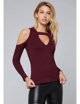 Bar Neck Cold Shoulder Top by Bebe