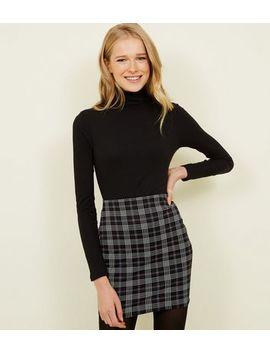 Black Check Print Mini Tube Skirt by New Look
