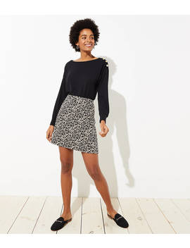 petite-leopard-jacquard-pocket-skirt by loft