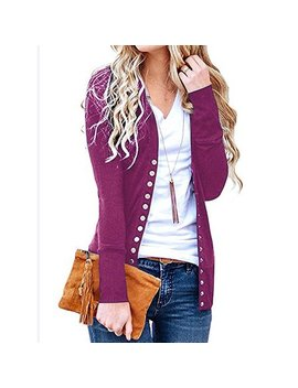 Just Vh Women's Long Sleeve Open Front Solid Color Snap Button Down Knit Ribbed Cardigans by Just Vh