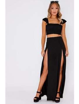 Malene Black Basic Front Split Maxi Skirt by In The Style