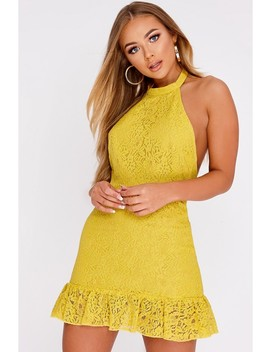 Billie Faiers Mustard Lace Halterneck Backless Peplum Mini Dress by In The Style