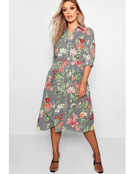 Plus Floral & Stripe Shirt Midi Dress by Boohoo