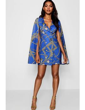 Chain Print Cape Sleeve Mini Dress by Boohoo