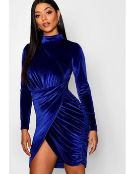 High Neck Velvet Drape Dress by Boohoo
