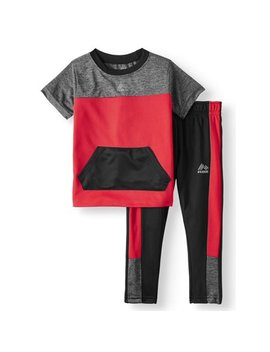 Short Sleeve Colorblock T Shirt & Tricot Pants, 2pc Active Set (Baby & Toddler Boys) by Rbx