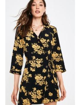 Uo Floral Revere Collar Shirt Dress by Urban Outfitters
