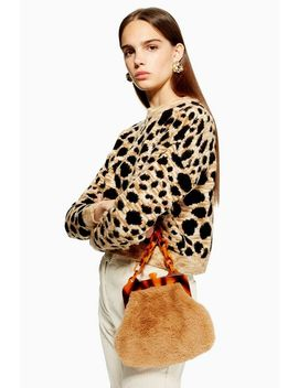 Leopard Cropped Jumper by Topshop
