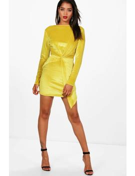 Melli Long Sleeve Velvet Bodycon Mini Dress by Boohoo