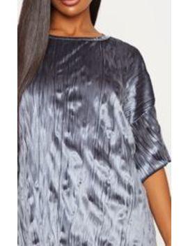 Grey Velvet Rib Oversized T Shirt Dress by Prettylittlething