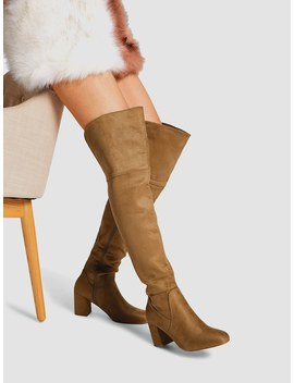 Block Heeled Thigh High Suede Boots by Shein