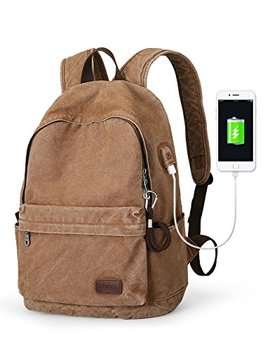 Muzee Canvas Backpack With Usb Charging Port For Men Women, Lightweight Anti Theft Travel Daypack College Student Rucksack Backpack Fits Up To 15.6 Inch Laptop Backpack Light Brown by Muzee