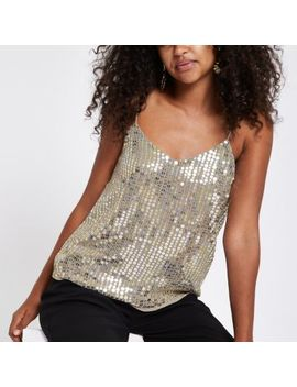 Gold Sequin Embellished Cami Top by River Island