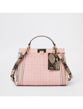 Pink Boucle Panel Lock Front Tote Bag by River Island