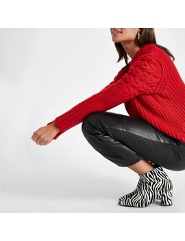 Red Cable Knit Crew Neck Jumper by River Island