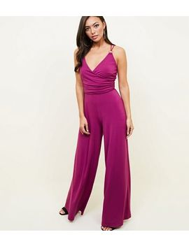Purple Ring Strap Wide Leg Jumpsuit by New Look