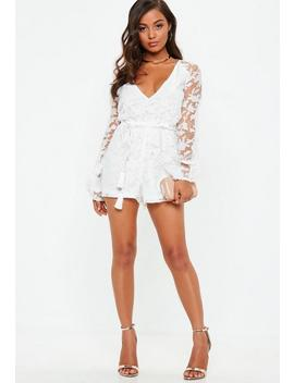 White Sheer Floral Print Deep Plunge Playsuit by Missguided