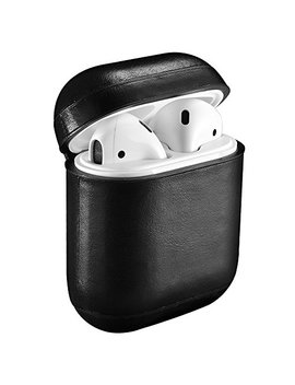 Air Pods Leather Case,Icarer Genuine Leather Protective Shockproof Cover For Apple Air Pods Charging Case (Black) by Icarer