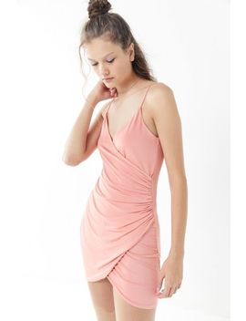 Uo Satin Ruched Mini Wrap Dress by Urban Outfitters
