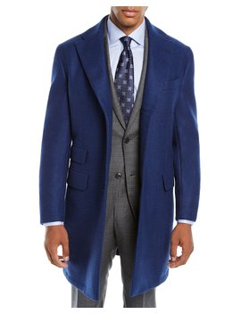 Men's Solid Wool Top Coat by Neiman Marcus
