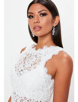 White Cornelli Lace Sleeveless Crop Top by Missguided