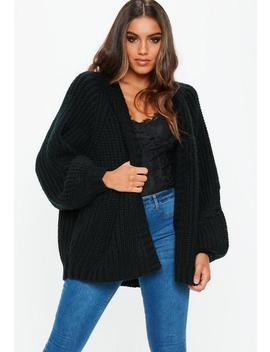 Black Oversized Batwing Cable Knitted Cardigan by Missguided