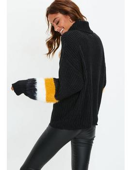Black Roll Neck Fluffy Stripe Sleeve Jumper by Missguided