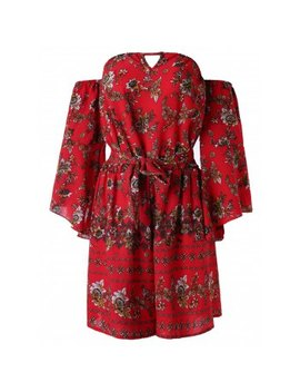 "<P>Off Shoulder Flower Belted Romper</P><I Class=""Icon Down Js Tap Up Down""></I> by Dress Lily"