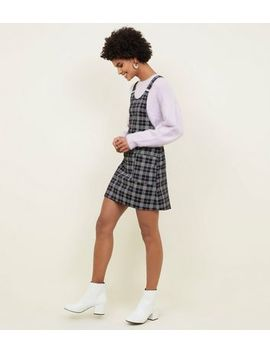 Black Check Buckle Strap Pinafore Dress by New Look