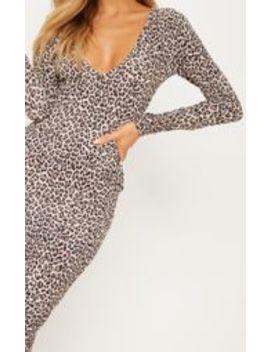Tan Leopard Plunge Long Sleeve Midi Dress by Prettylittlething