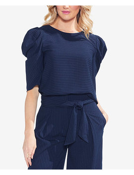 Pinstripe Bubble Sleeve Top by Vince Camuto