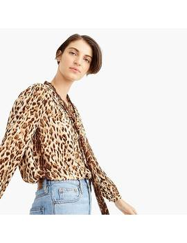 Tie Neck Button Up Shirt In Leopard Print by J.Crew