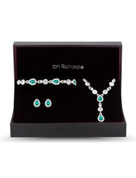 Jon Richard   Silver Green Crystal Peardrop Jewellery Set In A Gift Box by Jon Richard