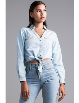 Tell Myself Denim Crop Top by Akira