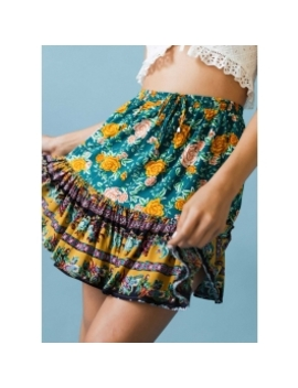 Costa Rica Skirt   Green Floral by Peppermayo