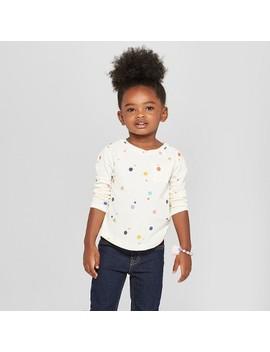 Toddler Girls' Polka Dot Long Sleeve Shirt   Cat & Jack™ Cream by Cat & Jack™