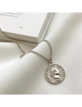 Srcoi Retro Gold Silver Color Portrait Round Alloy Coin Pendant Minimalist Figure Face Chain Choker Necklace Women Party Jewelry by Srcoi