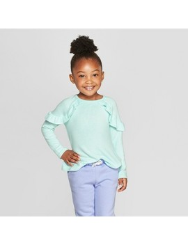 Toddler Girls' Long Sleeve Cozy Pullover Sweater   Cat & Jack™ Aqua by Cat & Jack™