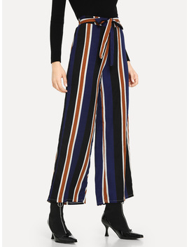 Striped Knot Waist Pants by Romwe