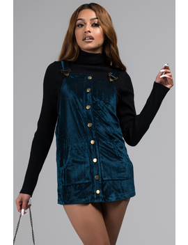 Tell Her Velvet Overall Mini Dress by Akira