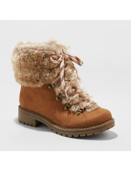 Women's Lilliana Faux Fur Lace Up Boots   Universal Thread™ Chestnut by Universal Thread™