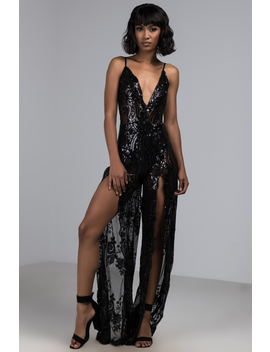 Cant Keep My Mind Off You Sequin Leg Slit Jumpsuit by Akira