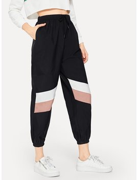 Drawstring Waist Colorblock Pants by Romwe