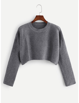 Drop Shoulder Crop Ribbed Jumper by Romwe