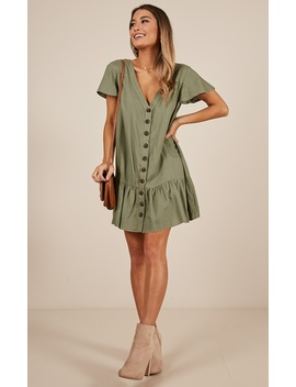 All Or Nothing Dress In Khaki Linen Look by Showpo Fashion